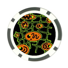 Orange and green abstraction Poker Chip Card Guards (10 pack)