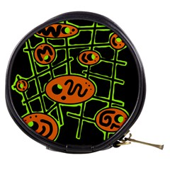 Orange and green abstraction Mini Makeup Bags