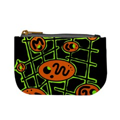 Orange and green abstraction Mini Coin Purses