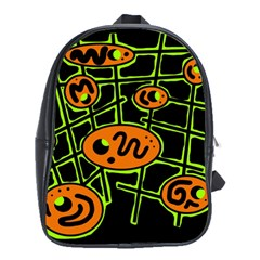 Orange and green abstraction School Bags(Large)