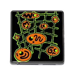 Orange and green abstraction Memory Card Reader (Square)