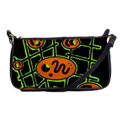 Orange and green abstraction Shoulder Clutch Bags