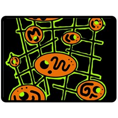 Orange and green abstraction Fleece Blanket (Large)