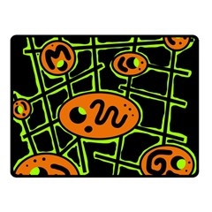 Orange and green abstraction Fleece Blanket (Small)