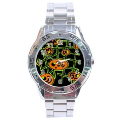 Orange and green abstraction Stainless Steel Analogue Watch