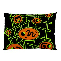 Orange And Green Abstraction Pillow Case (two Sides)