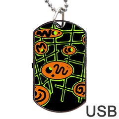 Orange and green abstraction Dog Tag USB Flash (Two Sides)