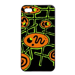 Orange and green abstraction Apple iPhone 4/4s Seamless Case (Black)
