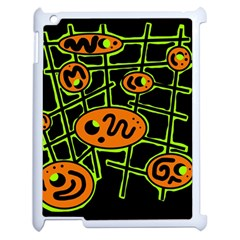 Orange and green abstraction Apple iPad 2 Case (White)