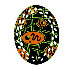 Orange and green abstraction Oval Filigree Ornament (2-Side)