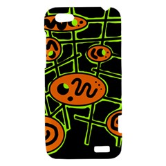 Orange and green abstraction HTC One V Hardshell Case