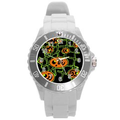 Orange and green abstraction Round Plastic Sport Watch (L)
