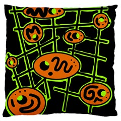 Orange and green abstraction Large Cushion Case (Two Sides)