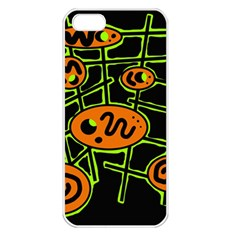 Orange and green abstraction Apple iPhone 5 Seamless Case (White)
