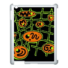 Orange and green abstraction Apple iPad 3/4 Case (White)
