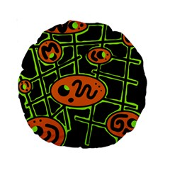 Orange and green abstraction Standard 15  Premium Round Cushions