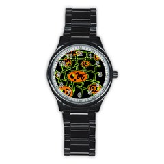 Orange and green abstraction Stainless Steel Round Watch