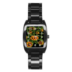 Orange and green abstraction Stainless Steel Barrel Watch