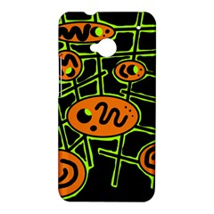 Orange and green abstraction HTC One M7 Hardshell Case