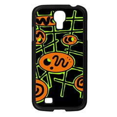 Orange and green abstraction Samsung Galaxy S4 I9500/ I9505 Case (Black)