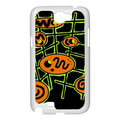 Orange and green abstraction Samsung Galaxy Note 2 Case (White)