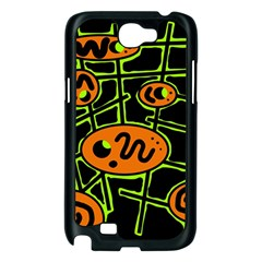 Orange and green abstraction Samsung Galaxy Note 2 Case (Black)