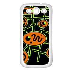 Orange and green abstraction Samsung Galaxy S3 Back Case (White)