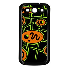 Orange and green abstraction Samsung Galaxy S3 Back Case (Black)