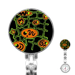 Orange and green abstraction Stainless Steel Nurses Watch