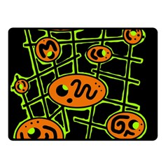 Orange and green abstraction Double Sided Fleece Blanket (Small)