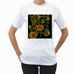 Orange and green abstraction Women s T-Shirt (White)
