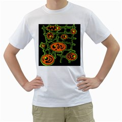 Orange and green abstraction Men s T-Shirt (White)