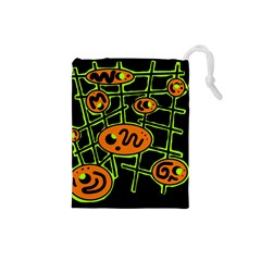 Orange and green abstraction Drawstring Pouches (Small)
