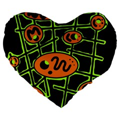 Orange and green abstraction Large 19  Premium Flano Heart Shape Cushions