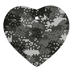 Pixel White Urban Camouflage Pattern Ornament (Heart)