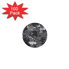 Pixel White Urban Camouflage Pattern 1  Mini Buttons (100 pack)