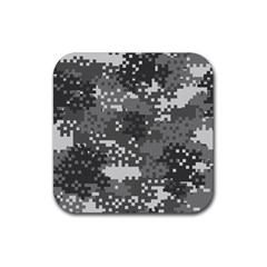 Pixel White Urban Camouflage Pattern Rubber Square Coaster (4 pack)