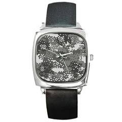 Pixel White Urban Camouflage Pattern Square Metal Watch