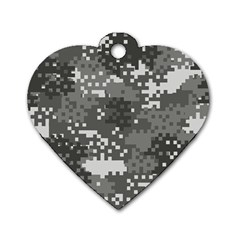 Pixel White Urban Camouflage Pattern Dog Tag Heart (One Side)