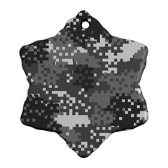 Pixel White Urban Camouflage Pattern Ornament (Snowflake)