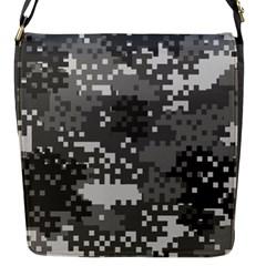 Pixel White Urban Camouflage Pattern Flap Messenger Bag (S)