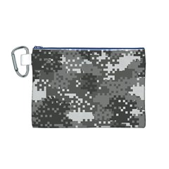 Pixel White Urban Camouflage Pattern Canvas Cosmetic Bag (M)