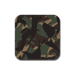 Woodland Camo Pattern Rubber Coaster (Square)