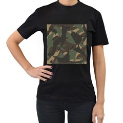 Woodland Camo Pattern Women s T-Shirt (Black) (Two Sided)