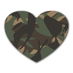 Woodland Camo Pattern Heart Mousepads