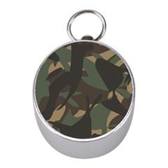 Woodland Camo Pattern Mini Silver Compasses