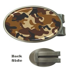 Brown Camo Pattern Money Clips (Oval)