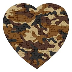 Brown Camo Pattern Jigsaw Puzzle (Heart)