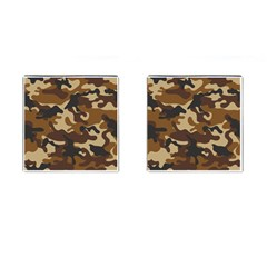 Brown Camo Pattern Cufflinks (Square)