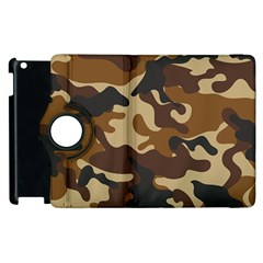 Brown Camo Pattern Apple iPad 3/4 Flip 360 Case